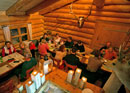 Fondue meal in the log cabin
